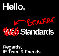 Illustration: Note from the IE Team and Friends — from Web Standards to Browser Standards.