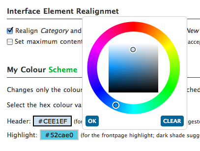 Colour wheel/picker for Baltic Amber Admin Themes & Schemes