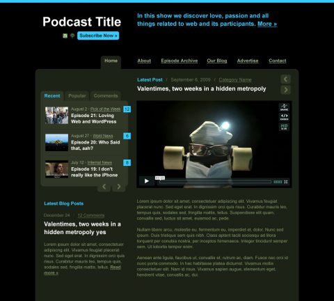 Blue shade: Audio/Video Podcast WordPress Theme