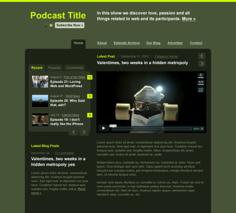Green on lighter background: Audio/Video Podcast WordPress Theme