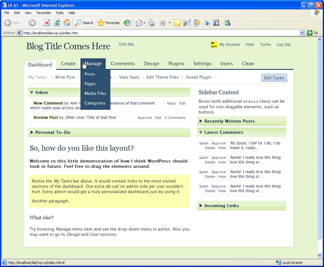 WordPress Dashboard User Interface Idea in Internet Explorer 6