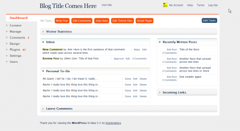 WordPress Dasboard User Interface Idea No.3