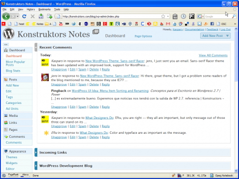 WordPress 2.7: Dashboard (note the scrollbar)