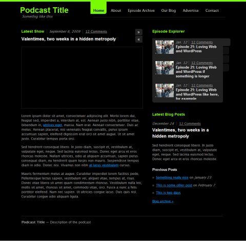 6:00 AM Podcast Theme Preview (Development, WordPress