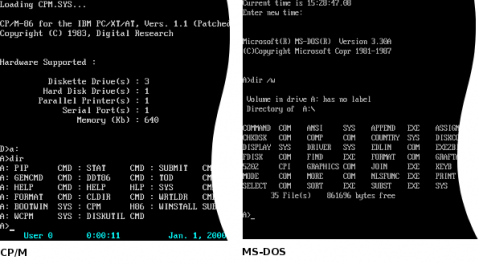 Screenshots of CP/M and MS-DOS operating systems