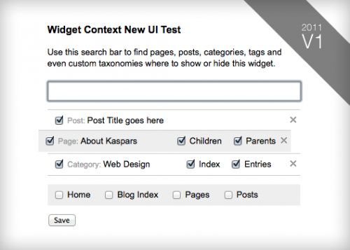 Widget Context UI Update 2011, Version 1