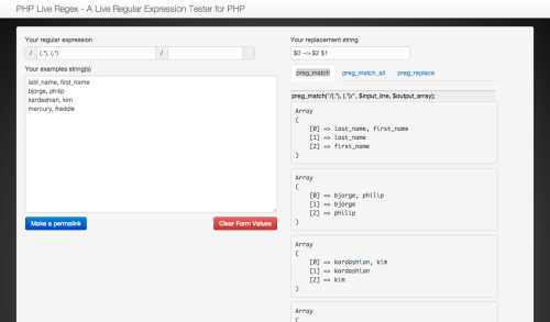 Screenshot of PHP Live Regex tool