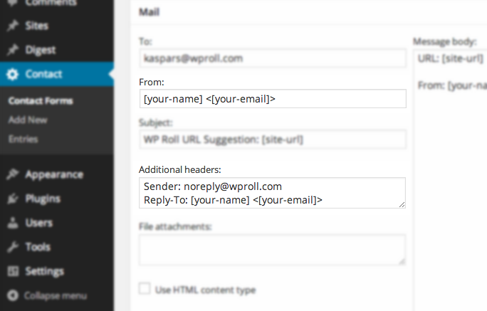Contact Form 7 mail header configuration