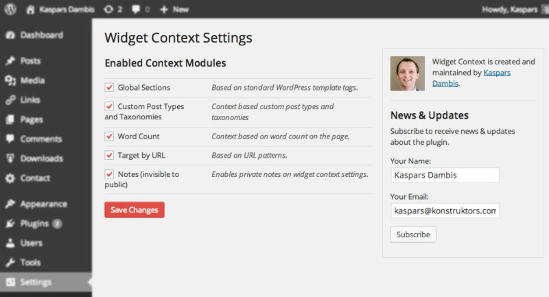 Widget Context settings panel with modules