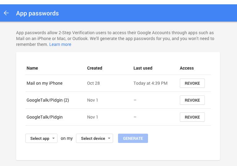 App Password Details