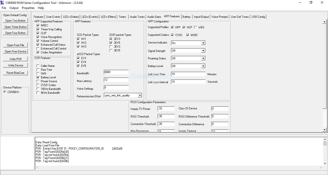 CSR8670 Config Tool HFP Configuration