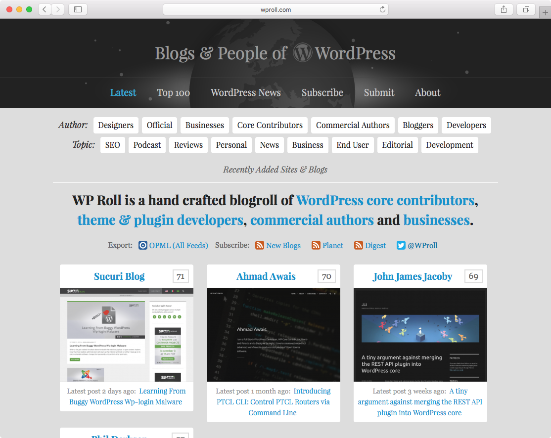 WProll.com WordPress Blogroll in 2016