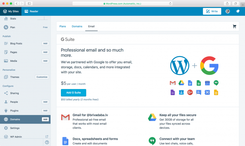WordPress.com custom domain settings for email MX records