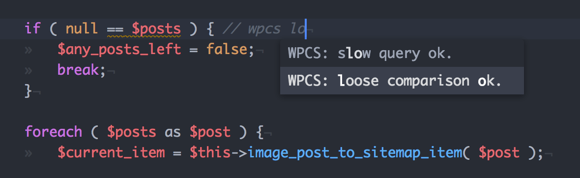Atom Autocomplete for WPCS Whitelist Flags