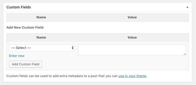 WordPress Custom Fields metabox