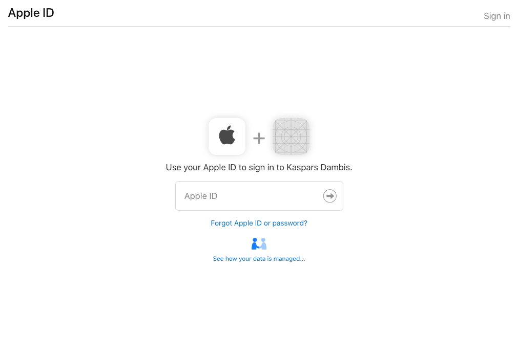 Sign In with Apple login page after clicking on the Sign In button