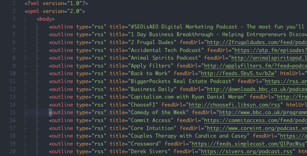 OPML feed of Apple Podcasts subscriptions